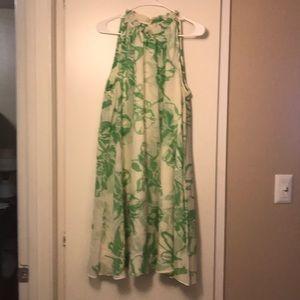 Banana Republic cream and green floral dress.